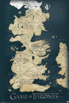 Game of Thrones carte des sept royaumes, le Trône de Fer Affiche