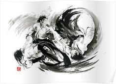 Aikido randori fight popular techniques martial arts sumi-e samurai ink painting artwork Poster