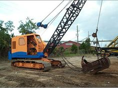 Crawler dragline: Koehring 535. A dragline gets its name by dragging an open-ended bucket towards itself when digging.