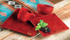 Savannah Red Dinnerware Set - 16 pcs Hi babe I want this set for my kitchenette in my basement :)