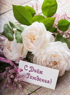 С днём рождения с поздравительной открыткой и розами