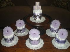 Purple Baby Shower Centerpieces Diaper by bearbottomdiapercakes