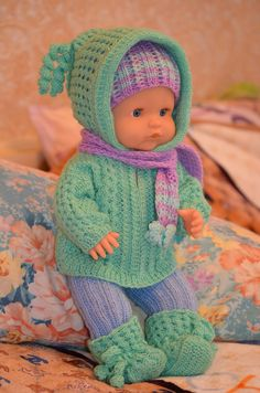 Baby Born Clothes, Girl Doll Clothes, Barbie Clothes, Baby Girl Patterns, Baby Clothes Patterns, Knitting Dolls Clothes, Crochet Doll Clothes, Knitted Doll Patterns, Knitted Dolls
