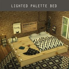 Leo 4 Sims: Lighted Palette Bed • Sims 4 Downloads