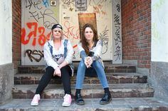 christinebazz: Laura Jane Grace from Against Me! and Christine Marie Jentoft, activist and Norways Top Trans blogger, just chillin' outside Rockefeller in Oslo. A transcontinental meeting of two tough trans women.