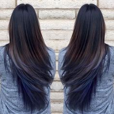 Pretty blue hair ombre with long straight black hair girls (Bottom Dyed Hair) Blue Brown Hair, Dark Hair, Dark Brown, Navy Blue Hair, Blue Streak In Hair, Black Hair Blue Tips, Black Hair With Blue Highlights, Blue Dip Dye Hair, Brown Highlights