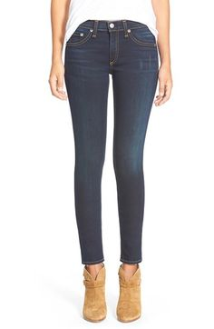 Free shipping and returns on rag & bone/JEAN Skinny Stretch Jeans (Bedford) at Nordstrom.com. An allover dark wash is complemented by contrast stitching and a hint of whiskering, leaving the spotlight to shine on the precise fit of these stretch skinny jeans.