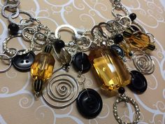 Bold Black Gold Button Necklace by BornAgainButtons on Etsy, $20.00