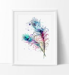 Painting Peacock Feathers - The Best Picture of Painting Watercolor Peacock Tattoo, Peacock Feather Tattoo, Feather Drawing, Feather Wall Art, Peacock Art, Feather Tattoos, Watercolor Artwork, Watercolor Sketch, Feather Print