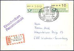 Germany, ATM 27.09.1982, Bund, Automatenmarken, 10 Pfg. mit violettem Eindruck, neben 380 Pfg. mit Sonderstempel von Wiesbaden (neue Terminal-Wertstufen, FDC), auf R-Brief, die Verwendung mit violettem Eindruck ist sehr selten, gepr. Schmidl BPP. Price Estimate (8/2016): 80 EUR.