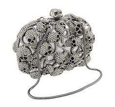 ec861cda300e3 Silver Rhinestone Encrusted Skull Evening Bag Clutch Purse    You can find  more details by