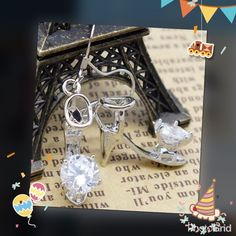 Sterling silver CZ high heel earrings Brand new beautiful and shiny fashion & charming high heeled shoes earrings material sterling silver plated cubic zirconia  3 pairs available Jewelry Earrings
