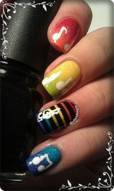 Music Notes nail art but not multi-color polish Music Note Nails, Music Nails, Fancy Nails, Pretty Nails, Nice Nails, Manicure Y Pedicure, Manicure Ideas, Nail Ideas, Rainbow Nails
