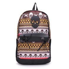 Sale 26% (15.8$) - Fashion Students Backpack Skull Unisex Canvas Schoolbag Rucksack
