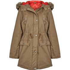 TOPSHOP Red Lined Fur Trimmed Parka (2.275 UYU) ❤ liked on Polyvore featuring outerwear, coats, jackets, parka, coats & jackets, tobacco, parka coat, fur trim parka, topshop parka and fur trim coat