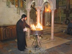 Church of the Holy Sepulcher. The ownership of the Church is shared between the various denominations (Eastern Orthodox, Armenian Apostolic and Roman Catholic). In the 19th century the Coptic, Ethiopian and Syrian Orthodox acquired lesser shares. It is a delicate situation that can easily flare up to violence at the slightest pretext. Jerusalem