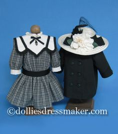 American Girl doll ~ Samantha and Nellie. Reefer coat, dress and hat ensemble inspired by period illustration.