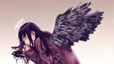 07.黒い翼と天使の輪を持った眠る少女の可愛いイラスト壁紙画像