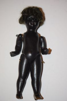 Old Doll Miniature All Bisque Black Doll Dollhouse