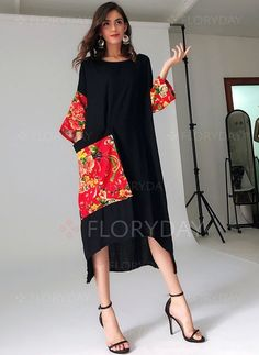 Arabian General Black Day Dresses Chinese Casual Rayon Round Neckline Shift Dress Spring XS Summer Pockets S Color Block High Low M L Sleeves XL Dress Shift Dresses, Day Dresses, Casual Dresses, Fashion Dresses, Trendy Dresses, Dresses Online, Floryday Vestidos, Vestido Casual, Linen Dresses