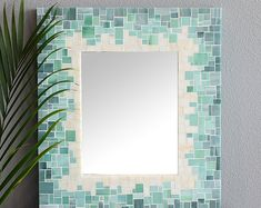 Mosaic Gradient Tile Mirror for Beach Theme Décor with Blue, Sea Green and Beige Glass Tiles – 5 Sizes Available