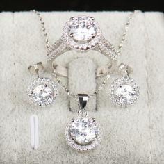 90% off Bruiloft Sieraden Sets voor Bruiden 925 Sterling Zilver AAAAA Niveau CZ Stud Oorbellen Ring Ketting Bruids Sieraden Set