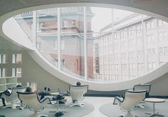 Yrjö Kukkapuro, Karuselli lounge chair, 1964, in newly built Kaisa University Library, Helsinki/ photo by Practicum Tours