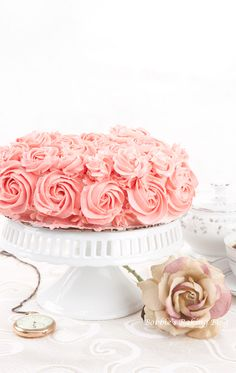 Champagne Rose Genoise Cake....I really love how they did the rose flower on like a single layer cake...I might be able to do that! lol