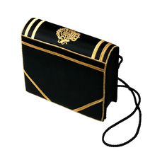 View this item and discover similar for sale at - Charming figural 'book' bag in black satin with embroidered crest and detailing. Flap opens in front with magnetic closure and bag hangs from twisted cord Black Handbags, Luxury Handbags, Small Handbags, Diy Fashion Projects, Book Lovers Gifts, Shoulder Handbags, Shoulder Bags, Cute Bags, Timeless Fashion