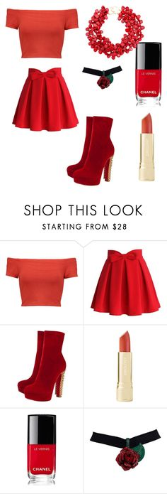 """""""Red For The Rich"""" by dillsbriana ❤ liked on Polyvore featuring Alice + Olivia, Chicwish, Christian Louboutin, Chanel and Kenneth Jay Lane"""