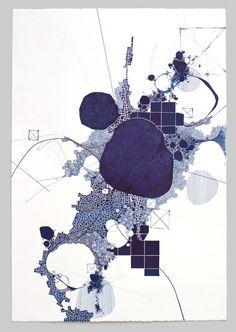 "Derek Lerner ""Asvirus 36"" - 2013 ink on paper 44 x 30 in"