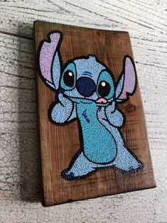 Stitch dot art hand painted wood art wooden wall hanging home decor wall decor kids room decor lilo and stitch gifts Hand painted dot art of Stitch from Lilo and Stitch on cut, sanded, and stained wood. Can be done on wood or (pi Wood Painting Art, Dot Painting, Wood Art, Wall Wood, String Wall Art, Nail String Art, String Art Templates, String Art Patterns, Doily Patterns