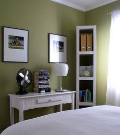 bedrooms - Behr - Ryegrass - green, walls, paint color, desk, fan, lamp, bookshelf, art,  via rearrangeddesign.com  green office - bedroom