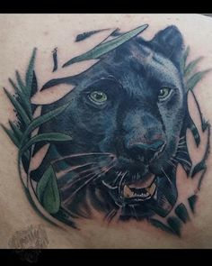 Panther behind the jungle by Kelly Green - Black panther head poking out through the leaves. Snow Leopard Tattoo, Cheetah Tattoo, Big Cat Tattoo, Black Panther Cat, Black Panther Tattoo, Panther Tattoo Meaning, Metamorphosis Tattoo, African Queen Tattoo, Half Sleeve Tattoo Stencils