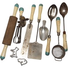 Vintage A & J Mother's Little Helper Kitchen Set with 6 Utensils, 2 Cookie Cutters, Flour Scoop, Cutting Board and BOWL!