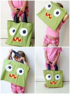 Upcycle Style: Monster Tote Bag from an Old Cushion Cover. Make a monster tote bag for trick or treating