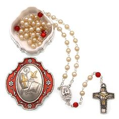 St Anthony Glass Rosary and Full Colour Illustrated Book Gift Pack