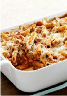 """Easy Italian Pasta Casserole – We call this pasta casserole """"Italian,"""" because it's cheesy with Parmesan and Mozzarella. """"Easy"""" because it takes just 20 minutes to prepare."""