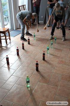 Anniversaire pour adolescents | Ciloubidouille : idée activité, faire tomber les bouteilles avec l'orange qui oscille