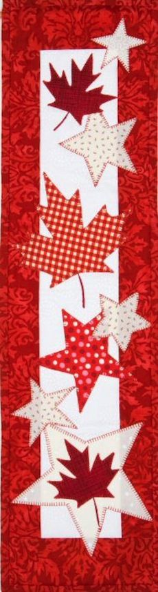 My Sewing Room - Oh Canada - Wall Hanging Pattern - Oh Canada is a Monthly Mini pattern from Patch Abilities, that was specially-designed for Canada at the request of Anne Dale, owner of My Sewing Room! Table Runner And Placemats, Table Runner Pattern, Quilted Table Runners, Small Quilts, Mini Quilts, Quilting Projects, Sewing Projects, Canadian Quilts, Quilts Canada