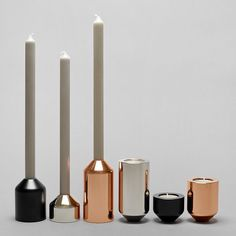 Candleholders by @joedoucet go from holding tea lights to tapers with a quick flip. \\\ Photo by Kendall Mills