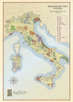 Wine regions of Italy - map by http://cellartours.com #map #italy #wine