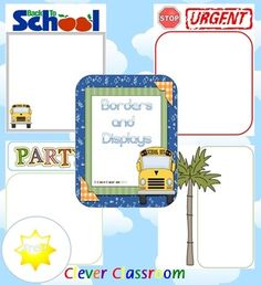 FREE Blank Borders and Displays PDF file    63 full page posters, boarders and displays for your classroom.    Each page displays a colored border for displays in your classroom.    Laminate a number of borders that will come in handy in your room this year. Place your collection of ready to go displays in a clear zip folder. This way, you will have the perfect display ready to go.