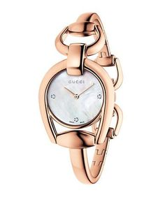 Gucci YA139508 Horsebit Rose Goldtone Bangle Watch Women's Rose Gold