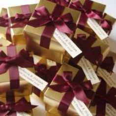 Burgundy and gold favor boxes