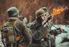 The flamethrower was extensively used during World War II. In the Wehrmacht first deployed man-portable… by German Soldiers Ww2, German Army, Luftwaffe, Paratrooper, Military Art, Military History, Ww2 Reenactment, Ww2 Pictures, World History