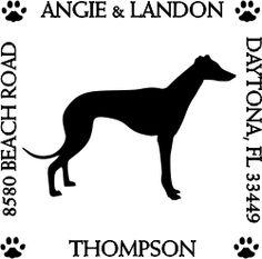 Greyhound Pet Lover Dog Address Stamp image