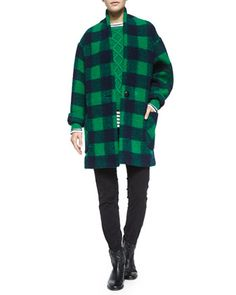 Gabrie+Check+Coat,+Nilsen+Cable-Knit+Sweater,+Karon+Striped+Linen+Tee,+Maxene+Skinny+Crop+Pants+&+Cluster+Hidden-Wedge+Ankle+Boot+by+Isabel+Marant+Etoile+at+Bergdorf+Goodman.