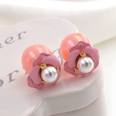 Double Faced Stud Earring, ABS Plastic Pearl, with Zinc Alloy, stainless steel post pin, Round, gold color plated, with painted, more colors for choice, 16mm,china wholesale jewelry beads