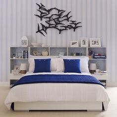 Teen's blue and white striped room